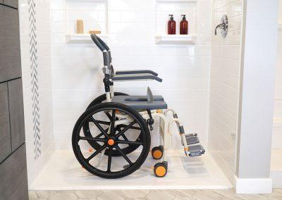Roll-InBuddy Solo SB6w chair in roll-in shower