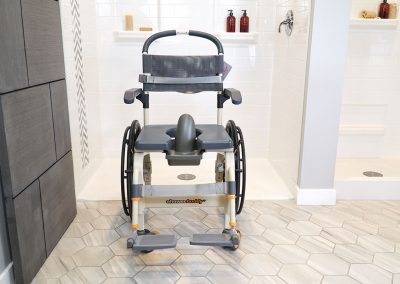 Roll-InBuddy Solo SB6w chair in front of shower