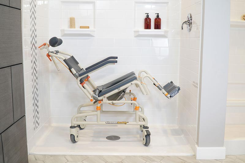 Roll-InBuddy Tilt SB3T shown in roll-in shower