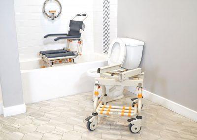 TubBuddy SB2 chair in bathtub bridge removed